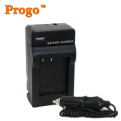 Progo Brand Panasonic Lumix DMC-LX5, DMCLX5 Digital Camera Battery Charger (110/220v with Car adapter). Replacement Charger for Panasonic DMW-BCJ3E BCJ3PP Battery