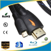 yoga_Style 3m Micro-HDMI to HDMI Cable with Nylon Net for Ethernet - 3D and 4K Resolution Ready Black