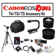 Deluxe Accessory Kit for Canon EOS Rebel T2i T3i T4i with Opteka Microfiber Deluxe Photo / Video Camera Gadget Bag, Opteka X-Grip Professional Camera / Camcorder Action Stabilising Handle, 8GB SDHC High Speed Memory Card, Full Size Tripod and More!