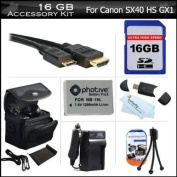 16GB Accessories Bundle Kit For Canon PowerShot SX50 HS, SX50HS, SX40 HS SX40HS G1 X, G15, Canon G16 Digital Camera Includes 16GB High Speed SD Memory Card + Extended Replacement (1200Mah) NB-10L Battery + AC/DC Charger + Mini HDMI Cable + Case + More