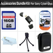Accessories Bundle Kit For Sony Cyber-Shot DSC-TX10 DSC-W510 DSC-W530 DSC-W570 DSC-WX9 DSC-T110 Digital Camera Includes 16GB High Speed SD Card + USB 2.0 Card Reader + Hard Case + Mini Tabletop Tripod + LCD Screen Protectors + MIcroFiber Cleaning Cloth