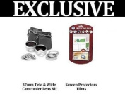 Wide Angle 2X Telephoto Lens Set For Canon VIXIA HF M300 HF M30 HF M31 Includes HD Wide Angle Lens + 2X Telephoto Lens+ Extras + 1 Free Pack of LCD Screen Protectors + Lens Cleaning Kit