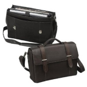 FLAP-OVER 38cm LAPTOP COMPUTER LEATHER BRIEFCASE - BROWN