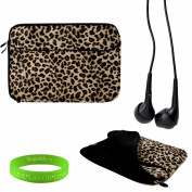 Exotic Leopard Print 33cm Faux Fur Sleeve for your Apple Macbook air Ultrabook sleeve is shock absorbent, has front zipper pocket for charger + Vangoddy Live Laugh Love Bracelet + Universal Earbuds!