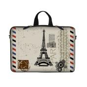Neoprene Laptop Carrying Case Sleeve Bag w. Hidden Handle & Eyelet (D-Ring) for 17 44cm Notebook - Paris Design