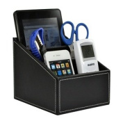 COSMOS ® Black PU Leather Remote control/controller TV Guide/mail/CD organiser/caddy/holder with Cosmos Fastening Strap