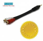 Pro-Techgroup Professional Grade 7-inch 3.5mm Stereo Male to 2RCA Female 22AWG Adapter Cable - Gold Plated Connectors