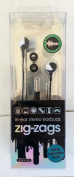 Zig-Zags In-Ear Stereo Earbuds Noise Reduction Buds Compatible With MP3, iPOD, Computer, Laptop...Black & White..mtc