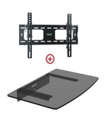 Mount World 952T43 Low Profile LCD LED Plasma TV Tilt Wall Mount with Bundle Single Glass shelf of Cable Box DVD Player Stereo Components for Most 60cm to 110cm (VESA 100x100 200x100 200x200 300x300 400x200 400x300) LCD LCD of SONY for  for  for  for Sams
