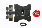 Mount-It! ALAMLB LCD TV Wall Mount Bracket with Full Motion Swing Out Tilt and Swivel Articulating Arm for 60cm x 90cm Flat Screen Displays with VESA 100 or 200 Mount Patterns W / Free HDMi Cable