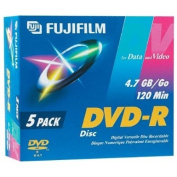 Fujifilm Media 25302947 DVD-R 4.7 GB 120 Minutes 16X Storage Media - 5 Pack