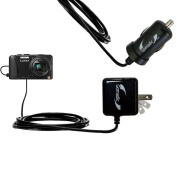 Gomadic Car and Wall Charger Essential Kit suitable for the Panasonic Lumix ZS25 / ZS30 - Includes both AC Wall and DC Car Charging Options with TipExchange