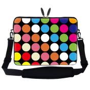 Meffort Inc 13 34cm Neoprene Laptop Carrying Case Sleeve Bag with Hidden Handle and Adjustable Shoulder Strap - Colourful Dot Design