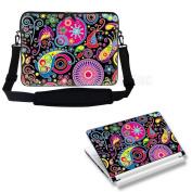 Meffort Inc 17 44cm Laptop Carrying Sleeve Bag Case with Hidden Handle & Adjustable Shoulder Strap with Matching Skin Sticker Deal - Art Design
