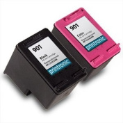 Printronic Remanufactured Ink Cartridge Replacement for HP 901 CC653AN CC656AN (1 Black 1 Colour) 2 Pack