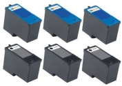 6 Pack (3BK+3C) Remanufactured DELL (Series 9) MK992 Black and MK993 Colour Ink Cartridges for DELL 926, V305, V305W Printers