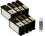 8 Pack Remanufactured Ink Cartridge Replacement for Lexmark 100XL (2 Black, 2 Cyan, 2 Yellow, 2 Magenta) + Glue Stick.