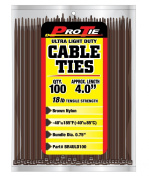 Pro Tie BR4ULD100 10cm Brown Ultra Light Duty Colour Cable Tie, Brown Nylon, 100-Pack