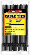 Pro Tie B6QO100 14cm Quik Off Tear Away Cable Tie, Black Polypropylene 100-Pack