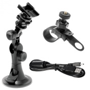 Midland Consumer Radio Accessory Value Pack for Midland Action Cameras.Includes Windshield Suction Cup and Handle Bar Mount with USB Cable XTAVP-1