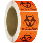 """Roll Products 142-0011 PVC Film Round Cornered Permanent Adhesive Biohazard Warning Label with Black Imprint, Legend """"Biohazard"""" (with Logo), 5.1cm Length x 5.1cm Width, For Identifying and Marking, Fluorescent Red"""
