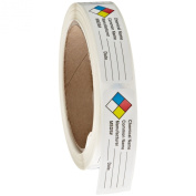 Roll Products 163-0004 Litho Removable Adhesive HMIG Label with 4 Colour Imprint, Chemical Name (with blank), 6.4cm Length x 1.9cm Width, For Identifying and Marking, White