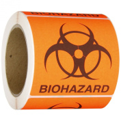 """Roll Products 142-0010 PVC Film Round Cornered Permanent Adhesive Biohazard Warning Label with Black Imprint, Legend """"Biohazard"""" (with Logo), 10cm Length x 10cm Width, For Identifying and Marking, Fluorescent Red"""