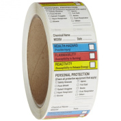 Roll Products 163-0015 Litho Removable Adhesive HMIG Label with 4 Colour Imprint, MSDS Chemical Name (with blank), 6.4cm Length x 3.8cm Width, For Identifying and Marking, White