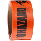 """Roll Products 142-0004 PVC Film Biohazard Warning Tape with Black Imprint, Legend """"Biohazard"""" (with Logo), 55yd Length x 5.1cm Width, 7.6cm Core, For Identifying and Marking, Fluorescent Red/Orange"""