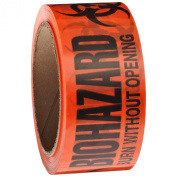 """Roll Products 142-0007 PVC Film Biohazard Warning Tape with Black Imprint, Legend """"Burn Without Opening"""" (with Logo), 55yd Length x 5.1cm Width, 7.6cm Core, For Identifying and Marking, Fluorescent Red/Orange"""