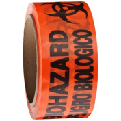 """Roll Products 142-0006 PVC Film Biohazard Warning Tape with Black Imprint, Legend """"Peligro Biologico"""" (with Logo), 55yd Length x 5.1cm Width, 7.6cm Core, For Identifying and Marking, Fluorescent Red/Orange"""