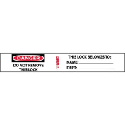 "NMC IDL2 Lockout Tagout Label, ""DANGER-DO NOT REMOVE THIS LOCK"", 13cm Width x 1.9cm Height, Pressure Sensitive Vinyl, Red/Black on White"