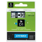 Wholesale CASE of 10 - Dymo ExecuLabel D1 Electronic Tape Cartridges-DYMO D1 Electronic Tape, 1cm x23' Size, Black/Clear