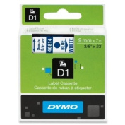 Wholesale CASE of 10 - Dymo ExecuLabel D1 Electronic Tape Cartridges-DYMO D1 Electronic Tape, 1cm X23' Size, Blue/White