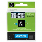 Wholesale CASE of 10 - Dymo ExecuLabel D1 Electronic Tape Cartridges-DYMO D1 Electronic Tape, 1.9cm x23' Size, Black/Clear