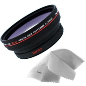 Optics 0.5x 72mm Wide Angle Lens for Sony High Grade Camcorder (Wider Alternative To VCL-HG0872X) + Nwv Direct Micro Fibre Cleaning Cloth