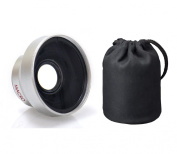 Canon High Definition 0.45x Wide Angle Lens w/Macro 37mm, (Wider Alternative To WD-H37C) + Nwv Direct Microfiber Cleaning Cloth