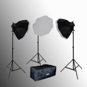 ePhoto 3000 WATT Digital Video Continuous Lighting Kit with Carrying Case - 3 light stands, 3 softboxes, 3 Light Heads(5 bulbs each) , 15 Photographic bulbs VL9058B by ePhoto