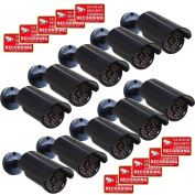 VideoSecu 10 Pack CCTV Fake Security Cameras Dummy IR Infrared LED Light Surveillance with Free Warning Decals CNF