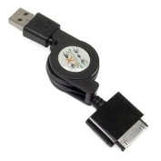 Retractable 2-In-1 2.0 USB Data Hotsync & Charging Cable For Sandisk Sansa e200, e250, e260, e270, e280, e200R, e250R, e260R, e270R, e280R c200