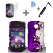 Rubberized Purple Silver Vines flower Snap on Design Case Hard Case Skin Cover Faceplate with Screen Protector, Case Opener and Stylus Pen for for for for for for for for for for for Samsung Illusion / Galaxy Proclaim i110 - Verizon / St