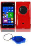 Red Flexible TPU Injection Case + ATOM LED Keychain Light for Nokia Lumia 1020