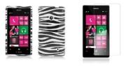 Nokia Lumia 521 / 520 - Accessory Combo Kit - Black and White Zebra Design Shield Case + Atom LED Keychain Light + Screen Protector