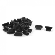 Gino 25 Pcs Anti Dust Black Soft Plastic Dock Cover Micro USB Port Ear Jack