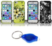 Apple iPhone 5C - Two Design Hard Cover Skin Print Cases (Green Hibiscus, White Silver Flowers on Black) + Atom LED Keychain Flashlight
