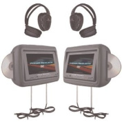 AWM Power Acoustik Hdvd-9Gr 22cm Preloaded Universal Headrest Monitors With Twin Dvd Combo & Headphones (Grey) - Dvd Players With Monitor