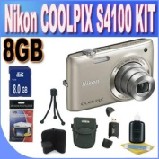 COOLPIX S4100 14 MP Digital Camera with 5x NIKKOR Wide-Angle Optical Zoom Lens and 7.6cm Touch-Panel LCD (Silver) + 8GB SDHC Memory + USB Card Reader + Memory Card Wallet + Shock Proof Deluxe Case + Accessory Saver Bundle!