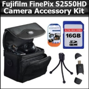Accessory Kit For Fujifilm FinePix S2550HD 12 MP Digital Camera Includes 16GB High Speed SD Memory card + USB 2.0 High Speed Card Reader + Deluxe Carrying Case + Mini Flexible Tripod + Clear LCD Screen Protectors + More