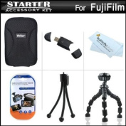 Starter Accessories Kit For Fuji Fujifilm FinePix T550, T500 Digital Camera Includes Deluxe Carrying Case + 18cm Flexible Tripod + USB High Speed 2.0 SD Card Reader + LCD Screen Protectors + Mini TableTop Tripod + MicroFiber Cleaning Cloth