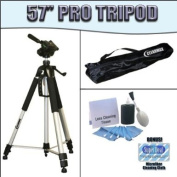 PROFESSIONAL 140cm Camera Tripod with Carrying Case For The Panasonic Lumix DMC-GF1, FZ35 Digital Cameras + Clearmax 5 Piece Cleaning Kit PLUS BONUS MICROFIBER CLEANING CLOTH